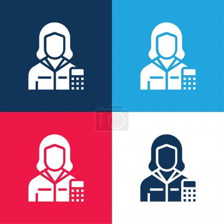 Accountant blue and red four color minimal icon set