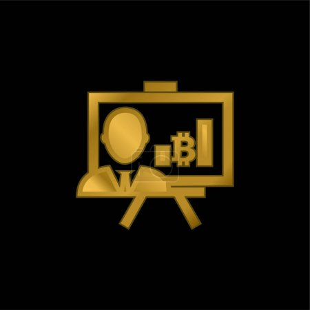 Illustration for Bitcoin Presentation With Graphs And Reporter gold plated metalic icon or logo vector - Royalty Free Image