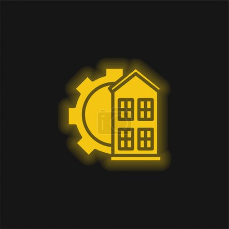 Illustration for Architectonic yellow glowing neon icon - Royalty Free Image