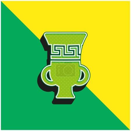 Ánfora verde y amarillo moderno vector 3d icono del logotipo