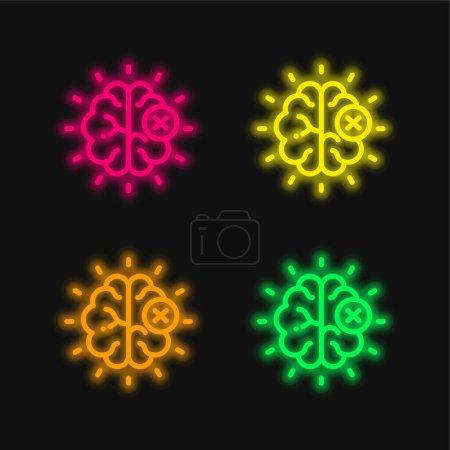 Photo pour Cerveau quatre couleurs brillant icône vectorielle néon - image libre de droit