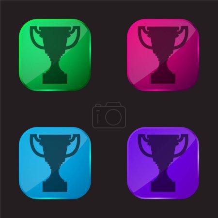 Illustration pour Prix Trophée Forme quatre couleur icône de bouton en verre - image libre de droit