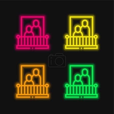 Illustration for Balcony four color glowing neon vector icon - Royalty Free Image
