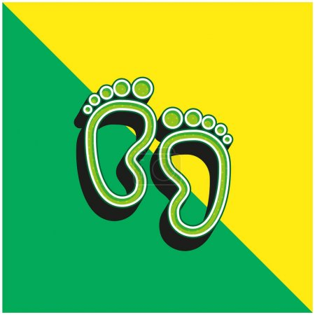 Baby Footprints Green and yellow modern 3d vector icon logo