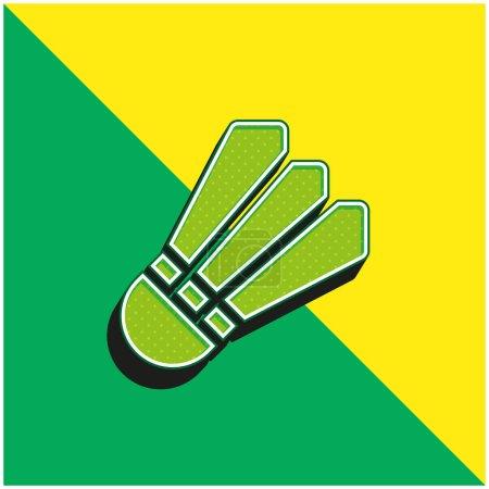 Bádminton verde y amarillo moderno vector 3d icono del logotipo