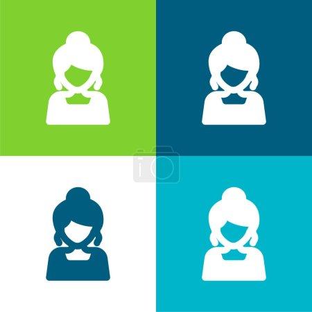 Illustration pour Bride Flat quatre couleurs minimum jeu d'icônes - image libre de droit