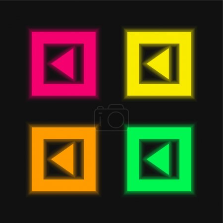 Back Arrow Triangle In Gross Square Button four color glowing neon vector icon
