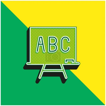Abc Green and yellow modern 3d vector icon logo
