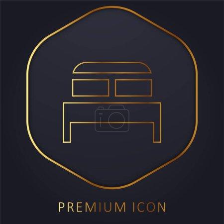 Bed golden line premium logo or icon