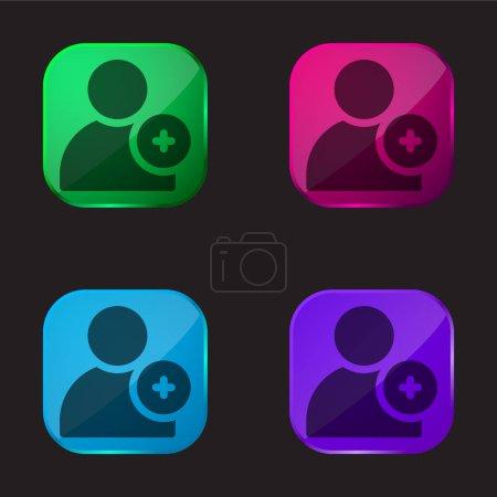 Illustration pour Ajouter Ami quatre icône de bouton en verre de couleur - image libre de droit