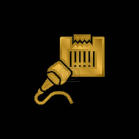 Barcode Scanner gold plated metalic icon or logo vector