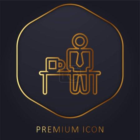 Illustration pour Temps de pause ligne d'or logo premium ou icône - image libre de droit