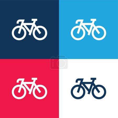 Bicicleta azul y rojo de cuatro colores mínimo icono conjunto