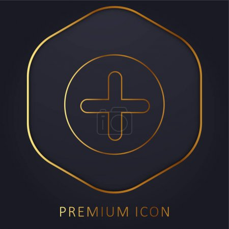 Add Button With Plus Symbol In A Black Circle golden line premium logo or icon