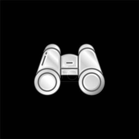 Binocular silver plated metallic icon