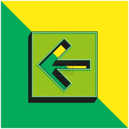 Illustration for Back Left Arrow In Square Button Green and yellow modern 3d vector icon logo - Royalty Free Image