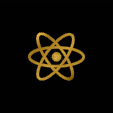 Atom Symbol gold plated metalic icon or logo vector