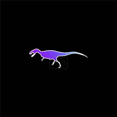 Allosaurus Dinosaur Shape blue gradient vector icon