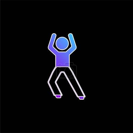 Illustration pour Garçon debout Stretching Leg bleu dégradé icône vectorielle - image libre de droit