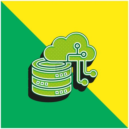 Illustration for Artificial Intelligence Green and yellow modern 3d vector icon logo - Royalty Free Image