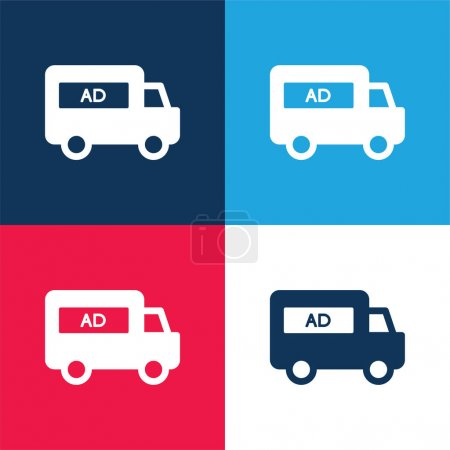 Illustration for AD Van blue and red four color minimal icon set - Royalty Free Image