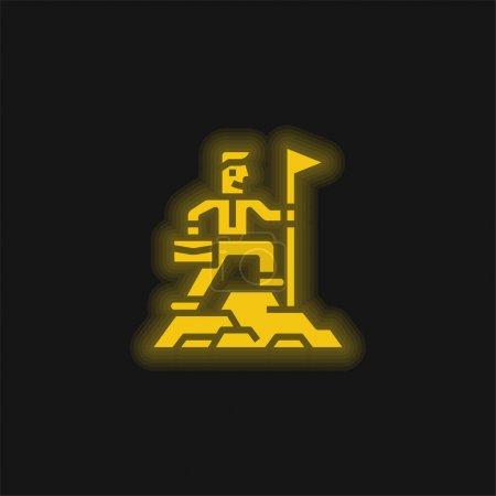 Illustration pour Réalisation jaune brillant icône néon - image libre de droit