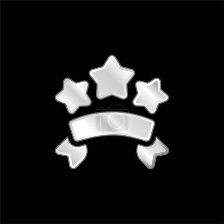 Illustration pour Bannières icône métallique argentée - image libre de droit
