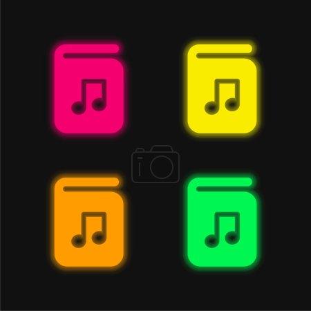 Audio Book four color glowing neon vector icon