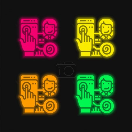 Illustration for Biometric four color glowing neon vector icon - Royalty Free Image