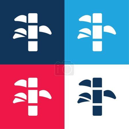 Illustration pour Ensemble d'icônes minime en bambou bleu et rouge quatre couleurs - image libre de droit