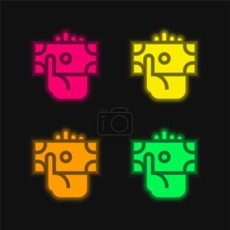Photo pour Billet quatre couleurs brillant icône vectorielle néon - image libre de droit