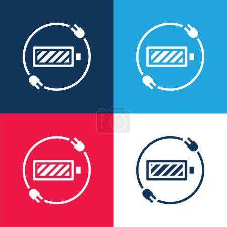 Illustration pour Statut de la batterie bleu et rouge ensemble d'icônes minimes quatre couleurs - image libre de droit