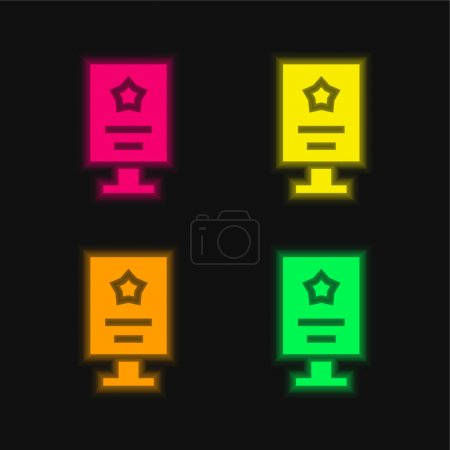 Illustration for Advertisement four color glowing neon vector icon - Royalty Free Image