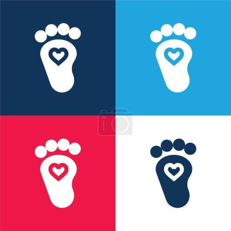 Illustration pour Ensemble d'icônes minime bébé bleu et rouge à quatre couleurs - image libre de droit
