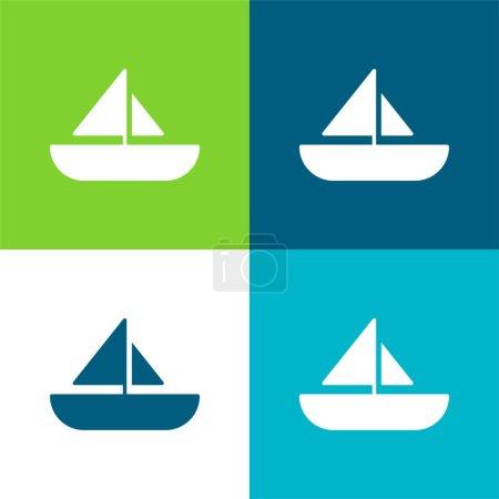Boat Flat four color minimal icon set