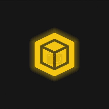 Illustration for 3d yellow glowing neon icon - Royalty Free Image