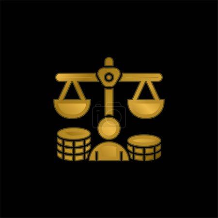 Balance plaqué or icône métallique ou logo vecteur