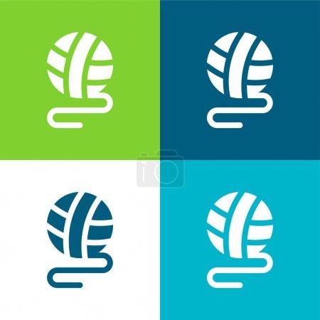 Photo pour Ballon plat quatre couleurs minimum icône ensemble - image libre de droit