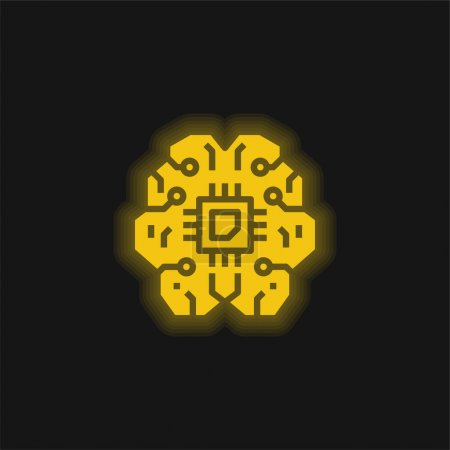 Photo for Artificial Intelligence yellow glowing neon icon - Royalty Free Image