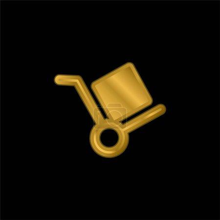Illustration pour Boîte Chariot plaqué or icône métallique ou logo vecteur - image libre de droit