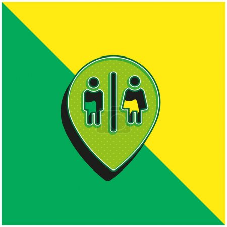 Bains Marker Point Vert et jaune moderne icône vectorielle 3d logo