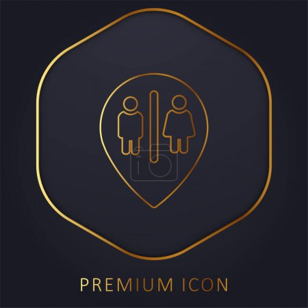 Bains Marker Point ligne d'or logo premium ou icône