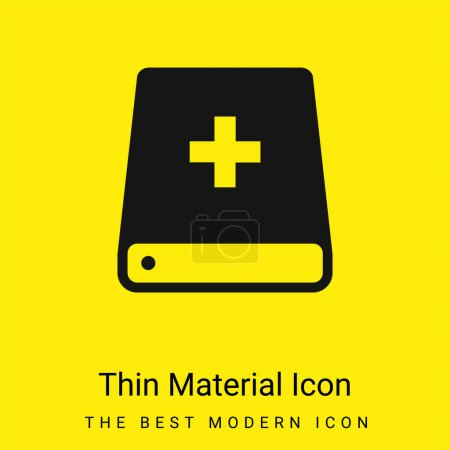 Photo pour Bible avec symbole de croix Variante minime icône de matériau jaune vif - image libre de droit