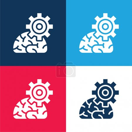 Illustration pour Algorithme bleu et rouge quatre couleurs minimum jeu d'icônes - image libre de droit