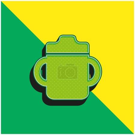 Photo pour Bouteille de boisson pour bébé avec poignée des deux côtés Logo vectoriel 3D moderne vert et jaune - image libre de droit