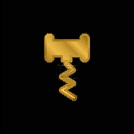 Illustration pour Bouteille d'ouverture plaqué or icône métallique ou logo vecteur - image libre de droit
