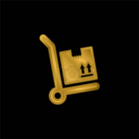 Box Package On A Cart gold plated metalic icon or logo vector
