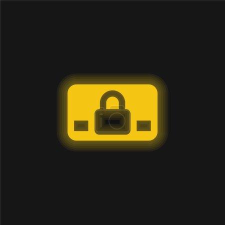 Illustration pour Symbole de carte commerciale bloqué icône jaune néon brillant - image libre de droit