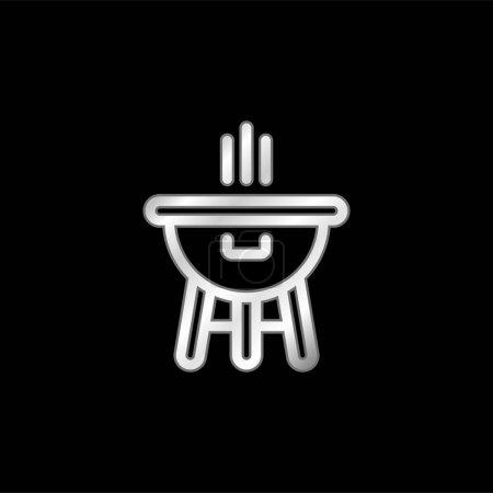 Illustration pour Icône métallique plaqué argent Bbq - image libre de droit