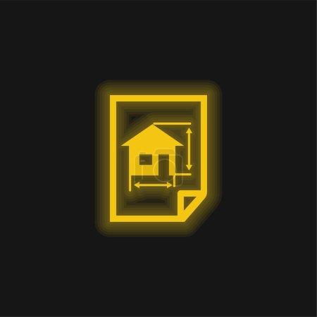 Illustration pour Architecture Dessiner D'une Maison Sur Un Papier jaune brillant icône néon - image libre de droit